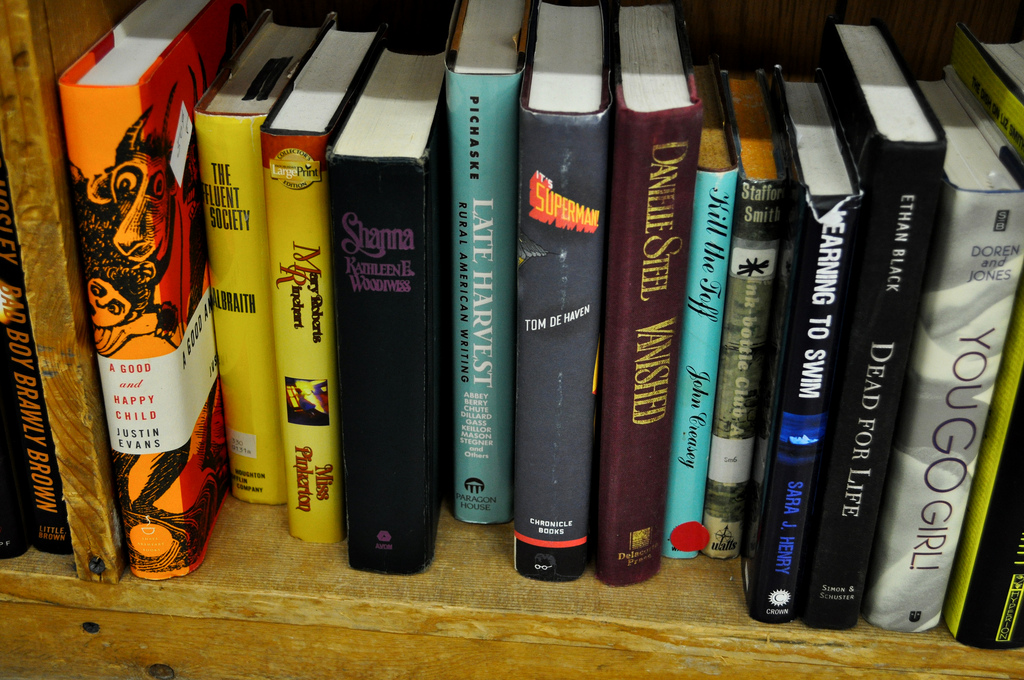 """Thrift Store Books,"" photo by Kate Geraets. Flickr Creative Commons. Attribution-NonCommercial 2.0 Generic (CC BY-NC 2.0)"