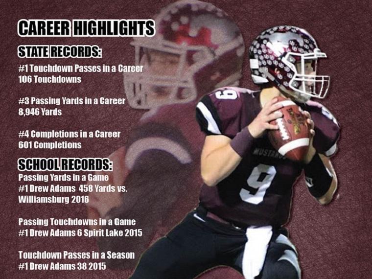 Quarterback Drew Adams