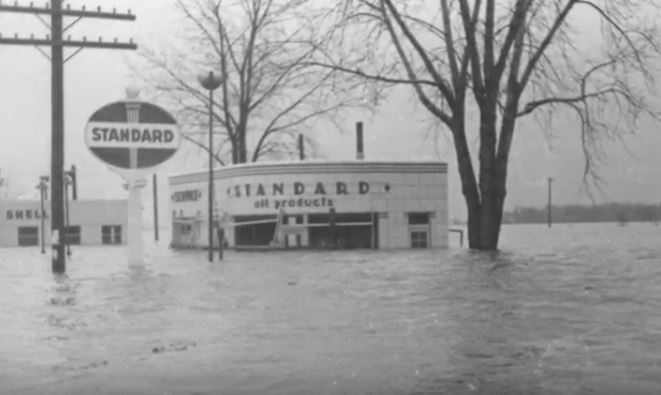 A view of a flood petrol station in the Midwest in a 1943 photograph.