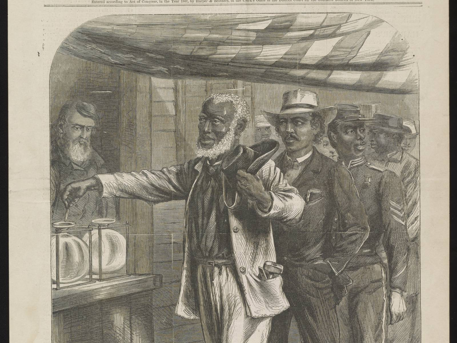 """The First Vote,"" drawn by A.R. Waud appeared in Harper's Weekly, November 1867. Courtesy of Library of Congress"
