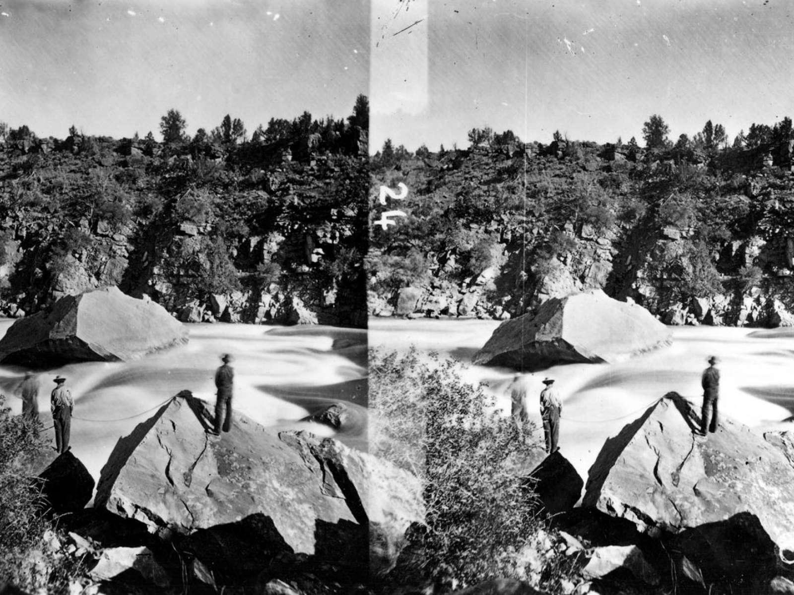 Portage of boats Ashley Falls, Daggett County, Utah. 1871
