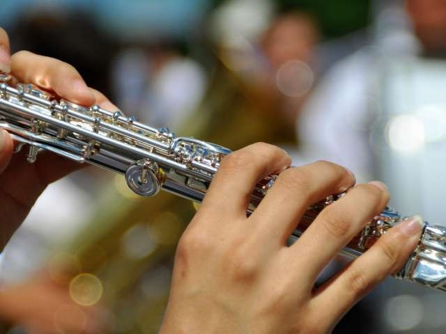 A woman holds a flute in a band. Pexels stock photo.