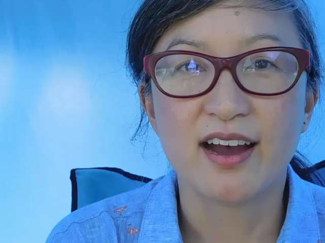 A colorful photo of Robin, the storyteller, wearing glasses and a ponytail. Screenshot from video.