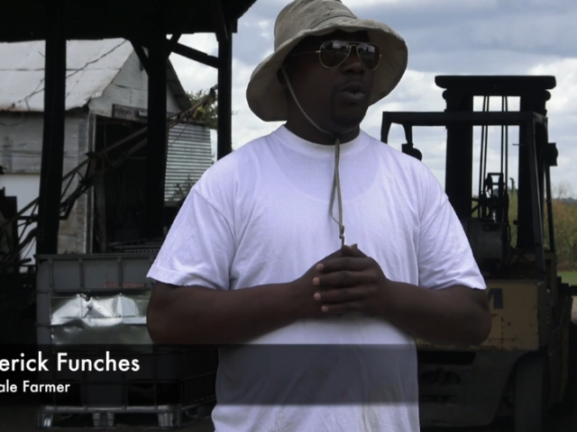 Roderick Funches discussing farming in the Delta.