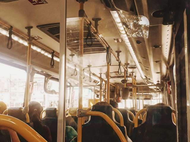 The inside of a vintage bus.