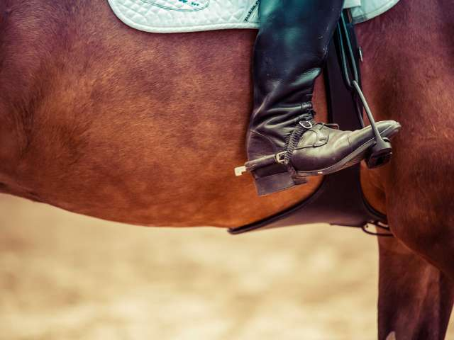 A boot rests in a stirrup as someone rides a chesnut-colored horse.