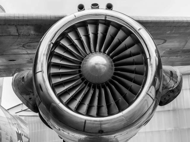 Black-and-white image of an airplane engine.