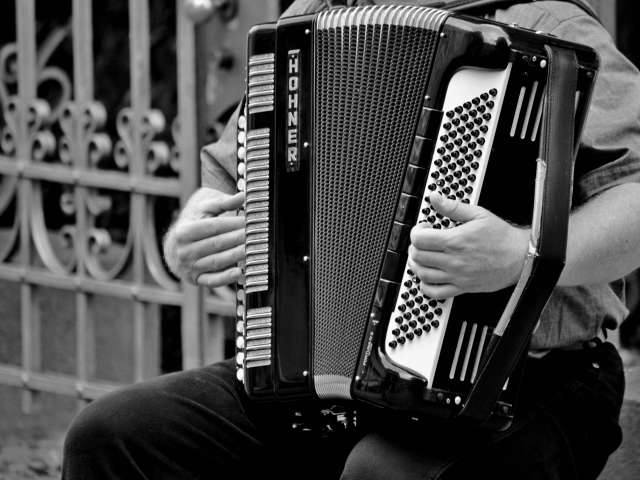 Close-up view of a man playing a modern accordion.