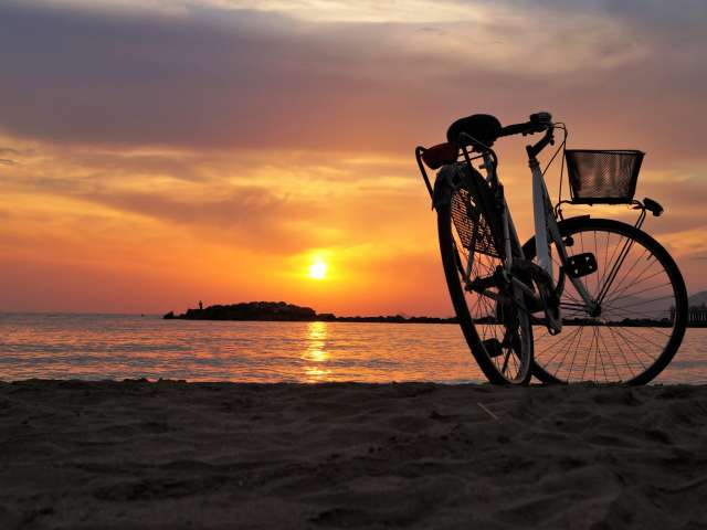 A bicycle with a basket on the front is parked in front of a lake at sunset.