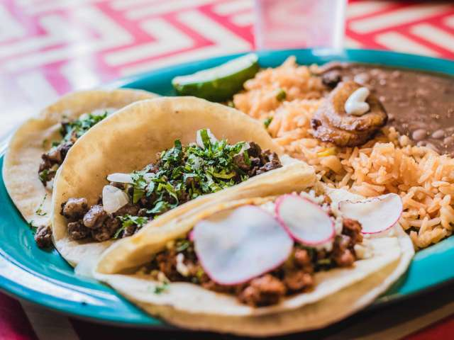 A blue plate filled with tacos, rice, and beans.