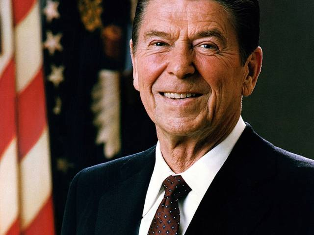 An official portrait of president Ronald Reagan in 1981.