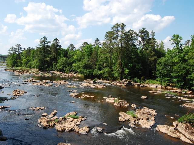 A scenic view of the Haw River with exposed rocks and tall, green trees.
