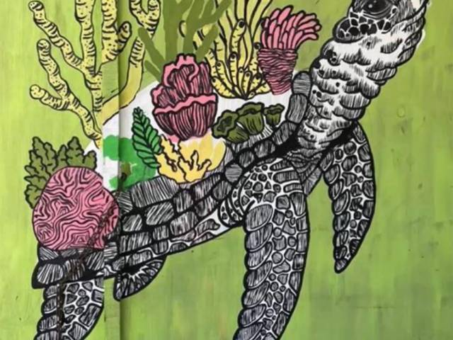 A painting of a sea turtle with corals on its back, painted on a green wall.