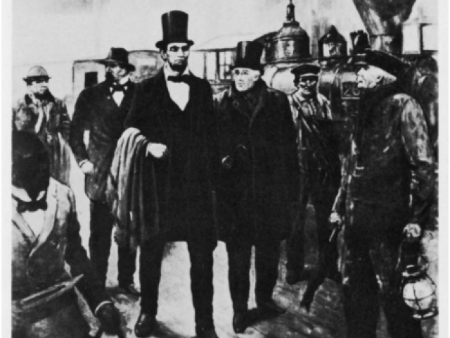 A drawing of Abraham Lincoln surrounded by white men in top hats and an African American man carrying baggage.