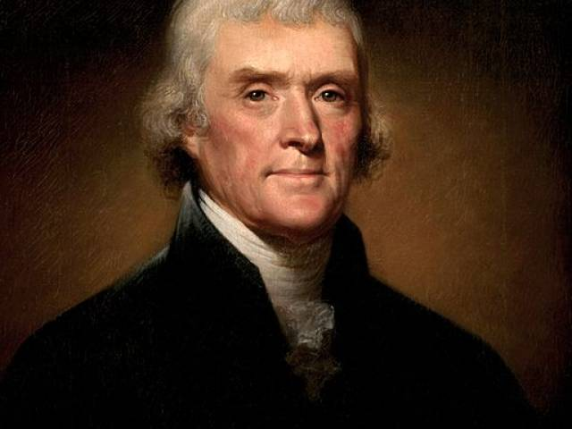 Painting of Thomas Jefferson by Rembrandt Peale shows the Founding Father with gray hair and a dark, collared jacket.