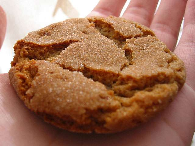 A girl holds out a hand with a crispy cookie in it.