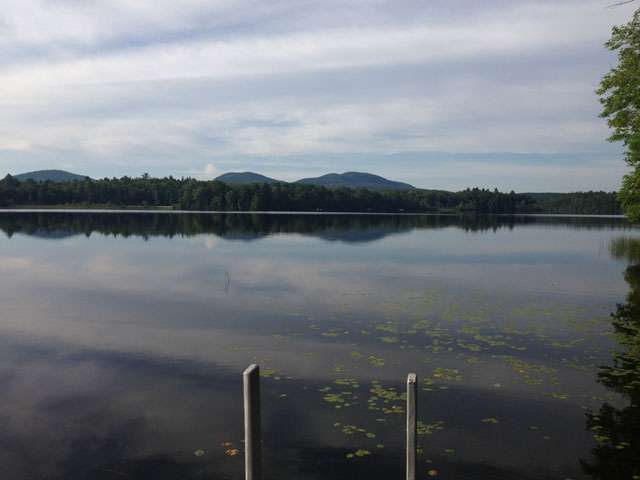A view of peaceful Maine lake.