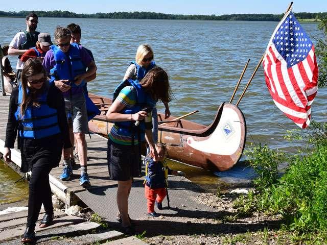 Team in canoe at Ringo Lake, Spicer, Minnesota