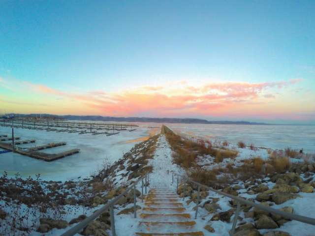 View of Lake Pepin in winter.