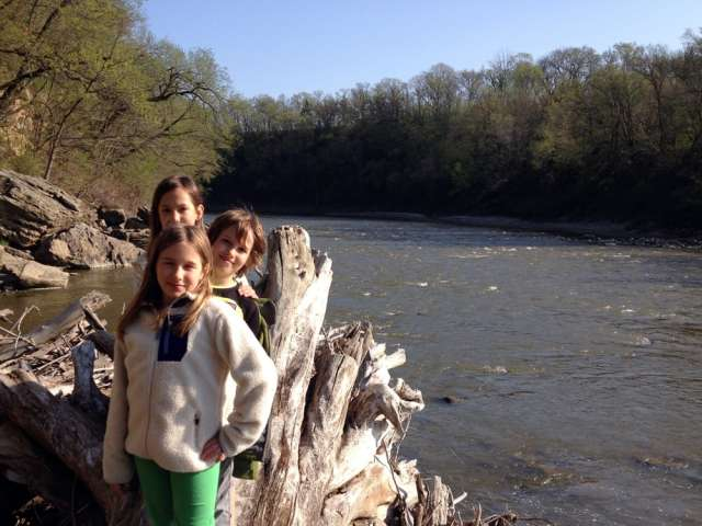 Children stand by a Minnesota river.