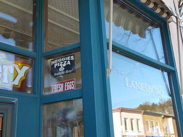 A downtown store window in Lanesboro, Minnesota.