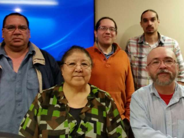 Ojibwe Community members Natalie Weyaus, Mike Wilson, Charles Lippert and Terry Kemper