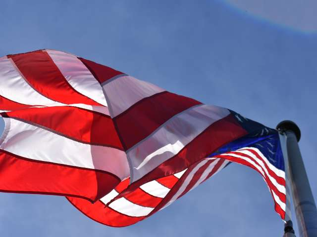 A detail of an American flag, waving in the breeze. Pexels stock photo