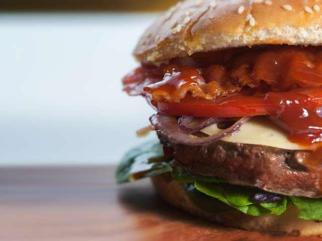 A close-up view of a juicy hamburger. Pexels stock photo