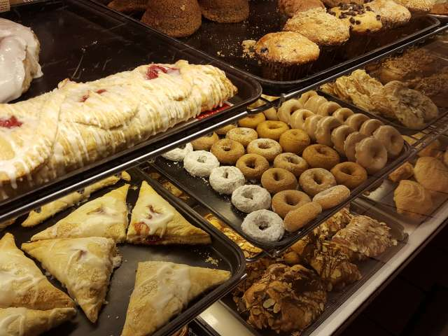 A assortment of goodies at a pastry counter. Photo by Heather Shelton